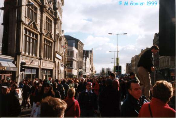St. Mary's Street with rugby crowds